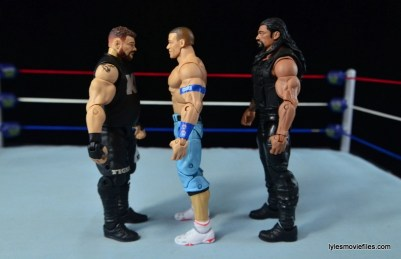 WWE Elite 43 Kevin Owens figure review - scale with John Cena and Roman Reigns