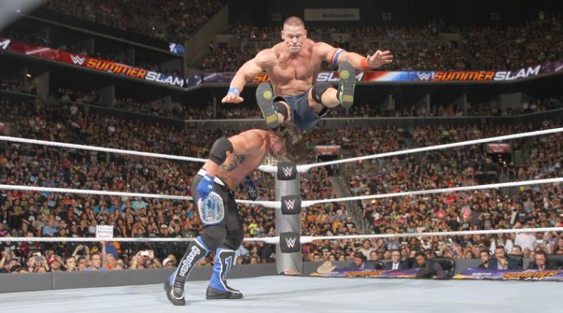 WWE SummerSlam 2016 - John Cena legdrops AJ Styles