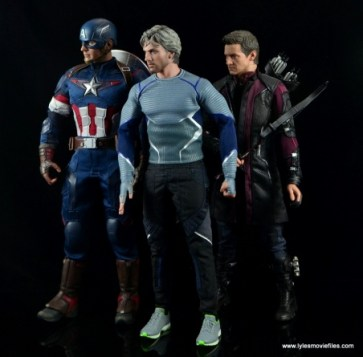 Hot Toys Quicksilver figure review - scale with Captain America and Hawkeye