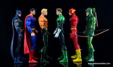 DC Icons Aquaman figure review - scale with Batman, Superman, Green Lantern, Flash and Green Arrow
