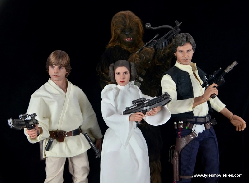 Hot Toys Princess Leia figure review - with Luke Skywalker, Chewbacca and Han Solo