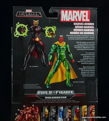 Marvel Legends Vision figure review -package bio