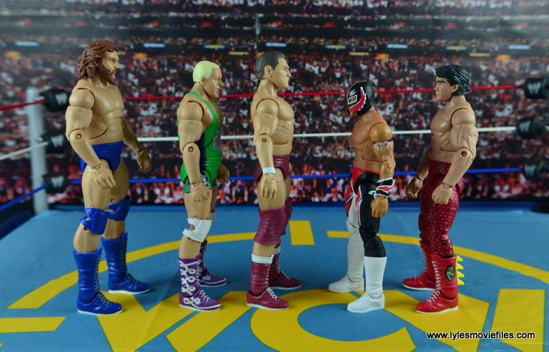 WWE Elite 45 Steve Regal figure review - scale with Hacksaw Duggan, Fit Finley, Rey Mysterio and Ricky Steamboat