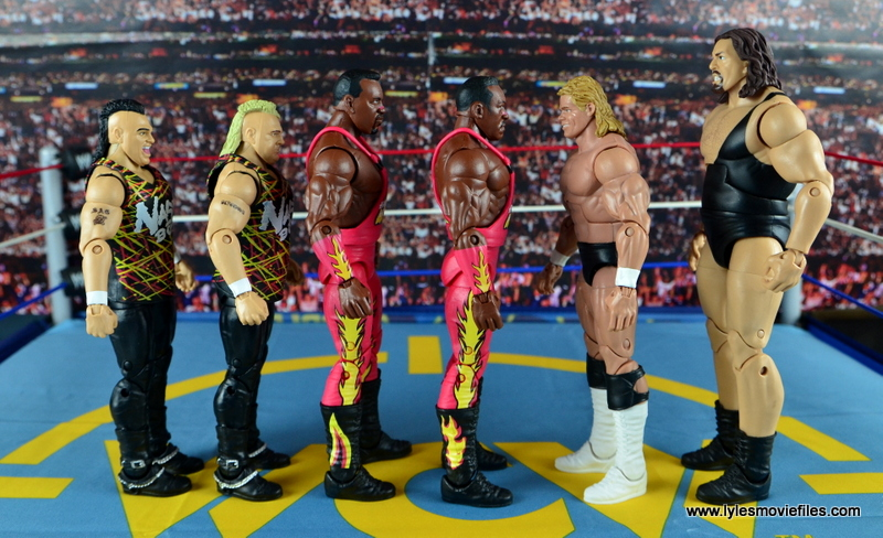 WWE Elite 46 Harlem Heat figure review - scale with Nasty Boys and Luger and The Giant