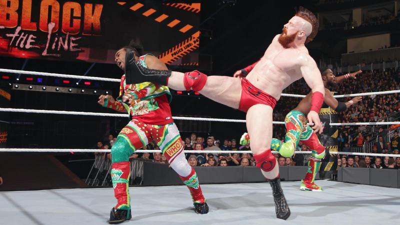 WWE Roadblock 2016 - Sheamus kicking Xavier Woods
