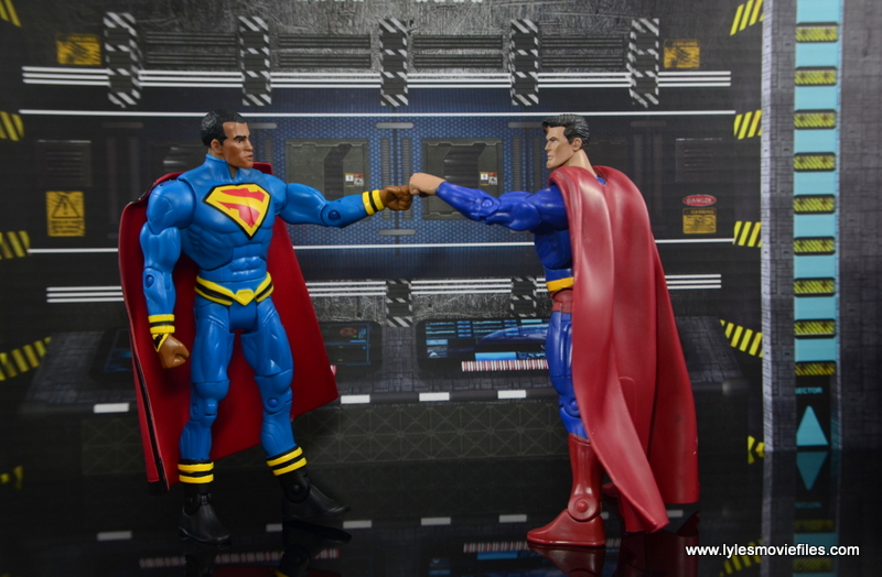DC Multiverse Elite-23 Superman figure review - fist bump with Superman