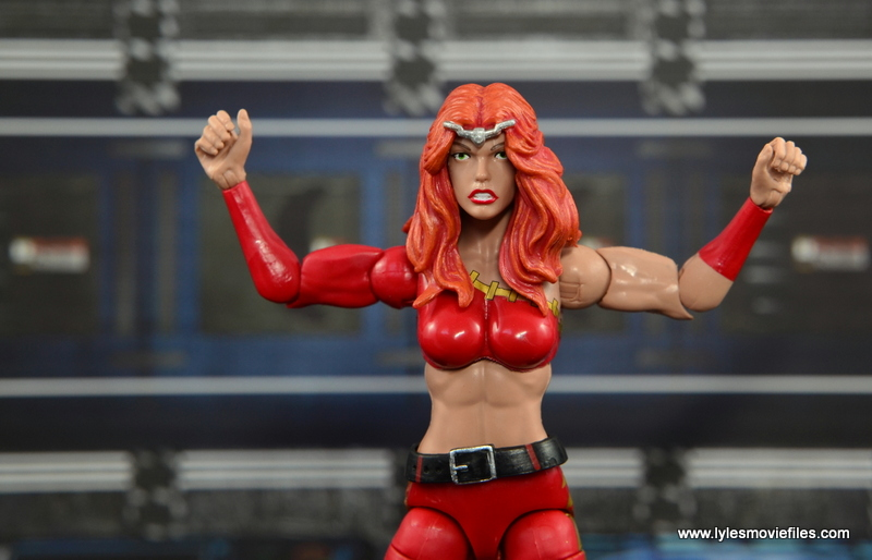 Marvel Legends Thundra figure review -arm articulation range