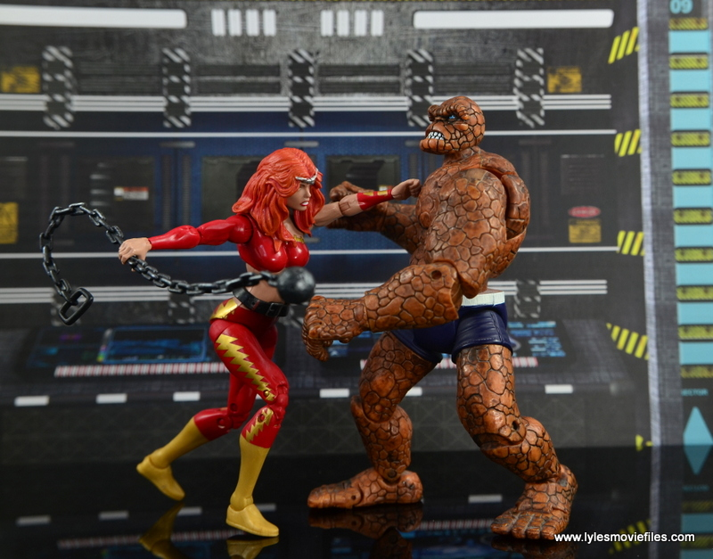 Marvel Legends Thundra figure review - punching The Thing