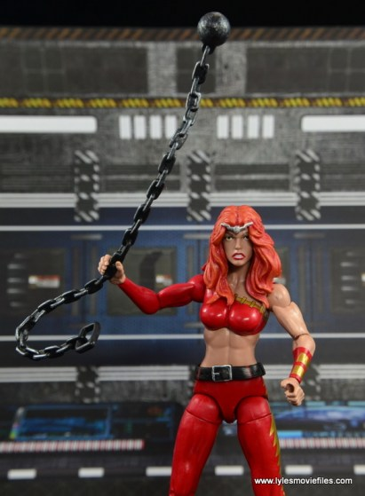 Marvel Legends Thundra figure review - swinging chain high