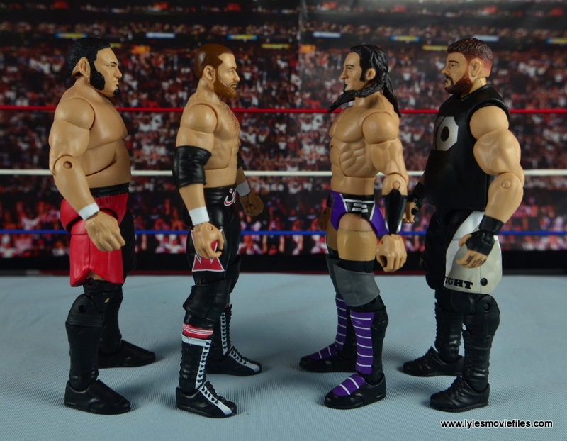 WWE Elite 42 Neville figure review - scale with Samoa Joe, Sami Zayn and Kevin Owens