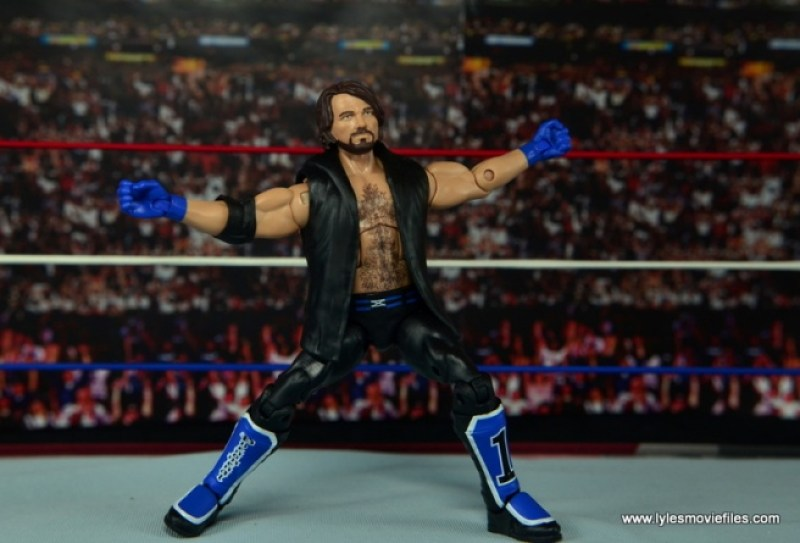 WWE Elite AJ Styles figure review - arms spread pose