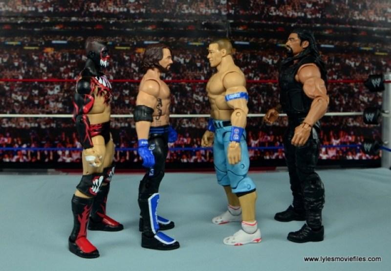 WWE Elite AJ Styles figure review - scale with Finn Balor, John Cena and Roman Reigns