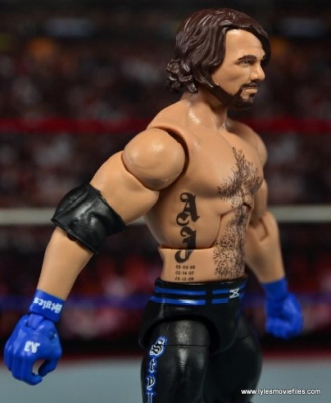 WWE Elite AJ Styles figure review - tattoo detail