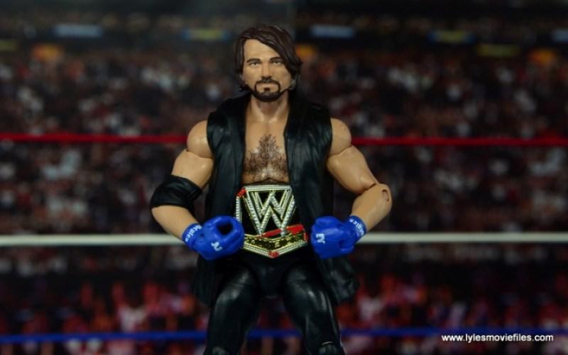 WWE Elite AJ Styles figure review - wearing WWE title