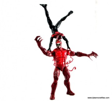 Marvel Legends Miles Morales figure review - flipping over Toxin