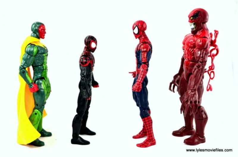 Marvel Legends Miles Morales figure review - scale with Vision, Spider-Man and Toxin