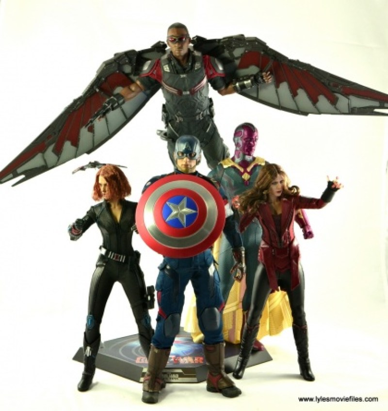 Hot Toys Captain America Civil War Falcon figure review -with Black Widow, Captain America, Vision and Scarlet Witch