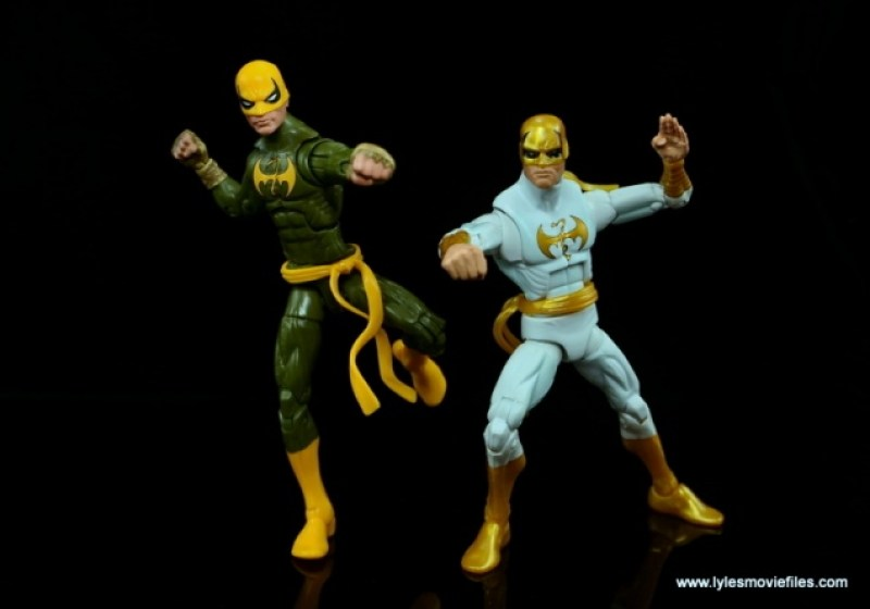 Marvel Legends Iron Fist figure review - action shot with older Iron Fist