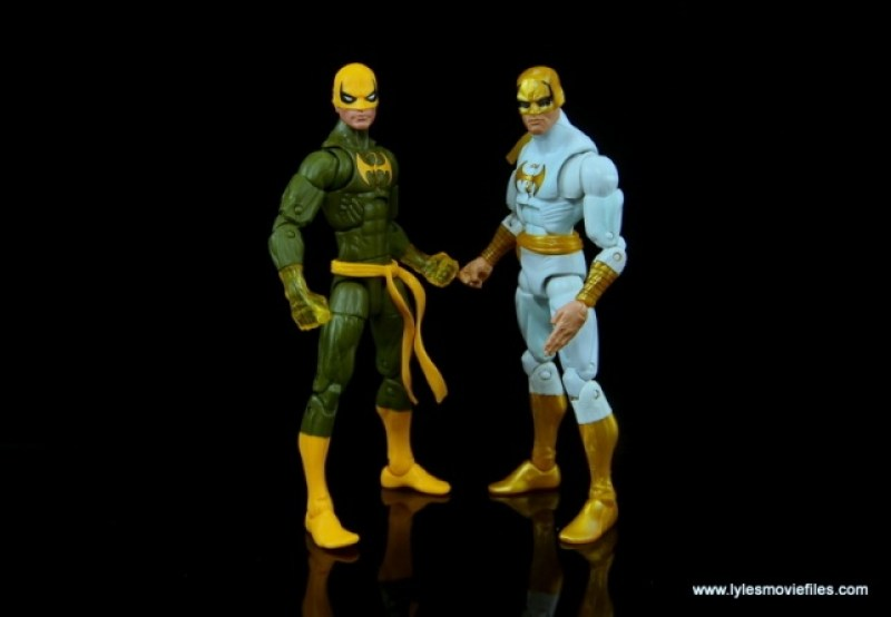 Marvel Legends Iron Fist figure review - standing with older Iron Fist