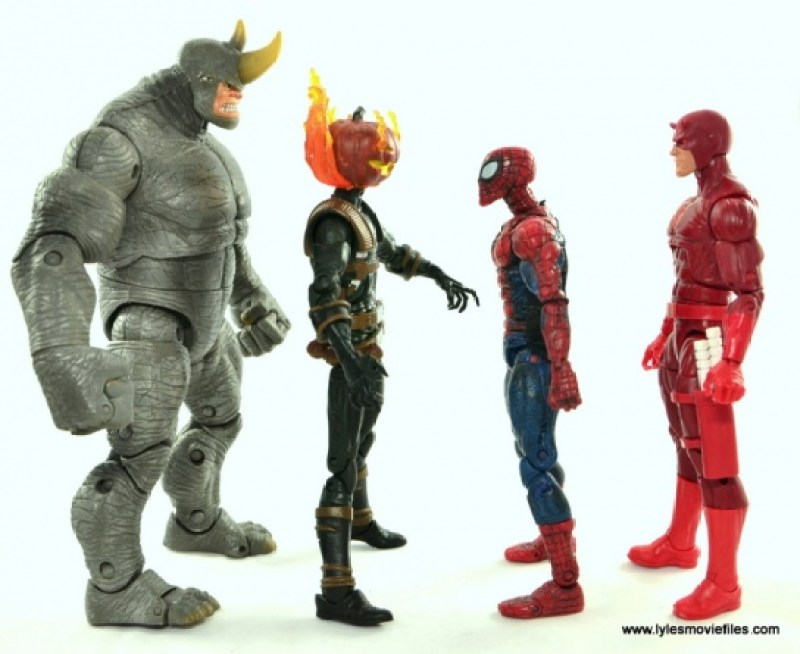 Marvel Legends Jack O'Lantern figure review - scale with Rhino, Spider-Man and Daredevil