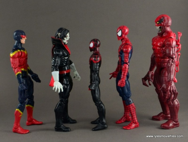 Marvel Legends Morbius figure review - scale with Speed Demon, Miles Morales, Spider-Man and Toxin