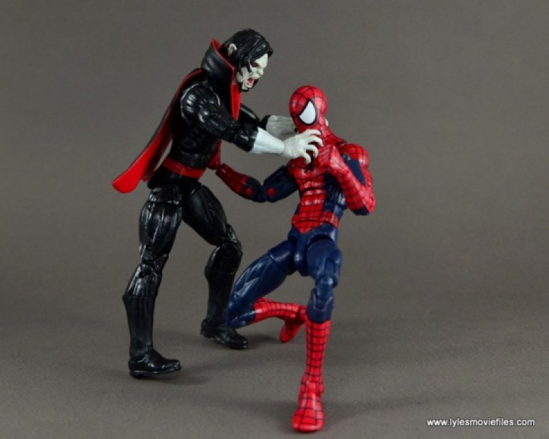 Marvel Legends Morbius figure review - throttling Spider-Man