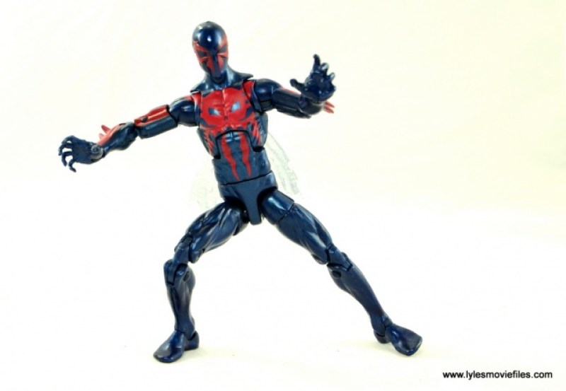 Marvel Legends Spider-Man 2099 figure review -legs spread
