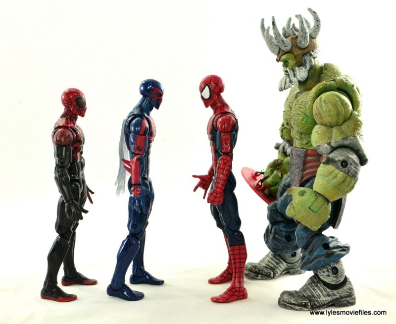 Marvel Legends Spider-Man 2099 figure review -scale with Superior Spider-Man, Spider-Man and Maestro