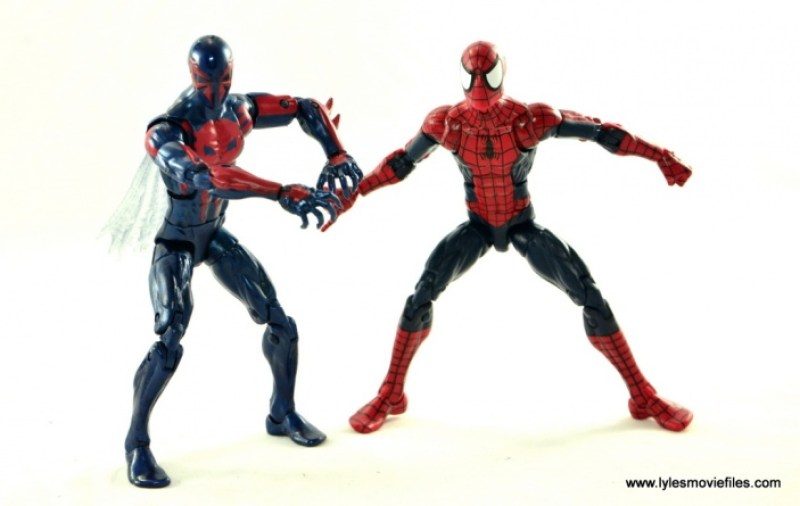 Marvel Legends Spider-Man 2099 figure review -side by side with Spider-Man
