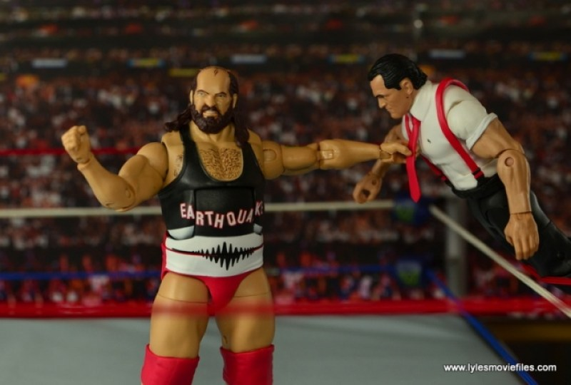 WWE Elite Natural Disasters figure reviews -grabbing IRS by the tongue or tie