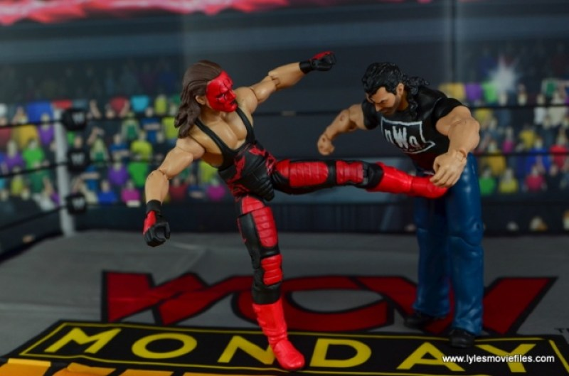 WWE Wolfpac Sting figure review -kicking Scott Hall