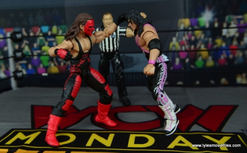 WWE Wolfpac Sting figure review -punching Bret Hart