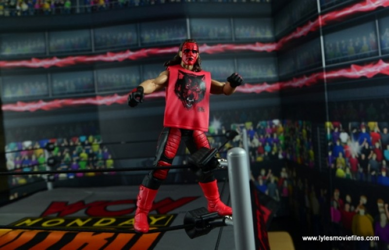 WWE Wolfpac Sting figure review -standing on turnbuckle