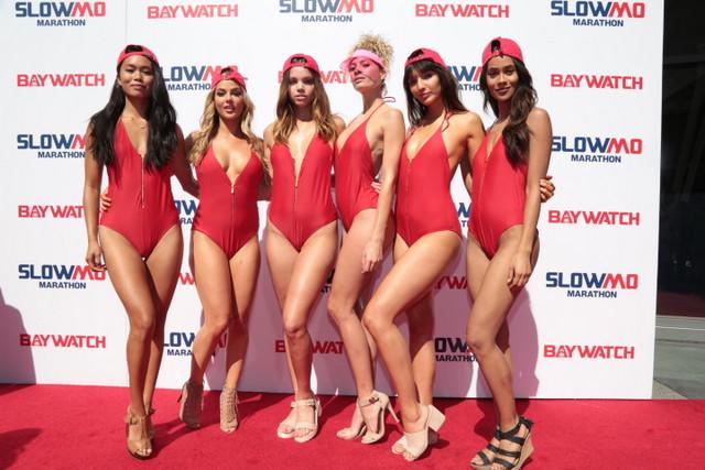 Baywatch-Slo-Mo-lifeguards-at-backdrop