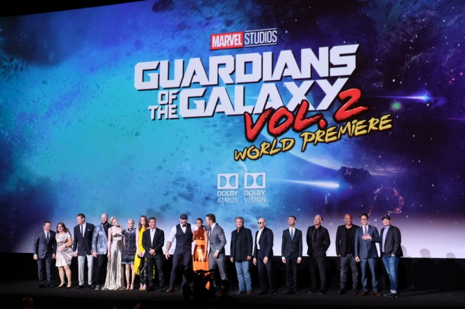 Guardians of the Galaxy Vol. 2 Hollywood premiere - cast on stage