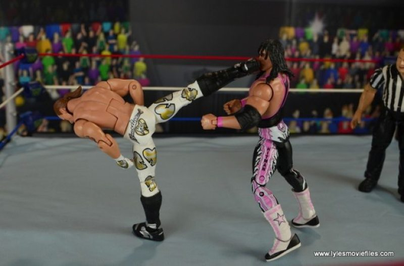 WWE Wrestlemania 12 Elite Shawn Michaels figure review - superkick to Bret Hart