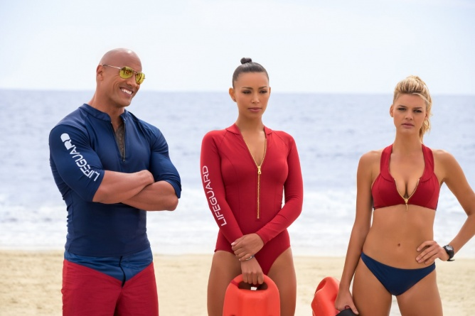 Baywatch -Dwayne Johnson, Ilfenesh Hadera and Kelly Rohrbach