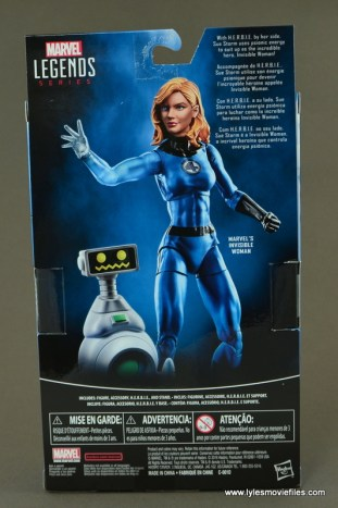 Marvel Legends Invisible Woman figure review -package rear