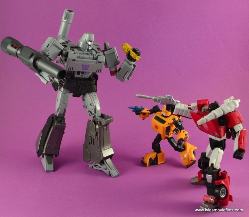Transformers Masterpiece Megatron figure review -vs Bumblebee and Sideswipe