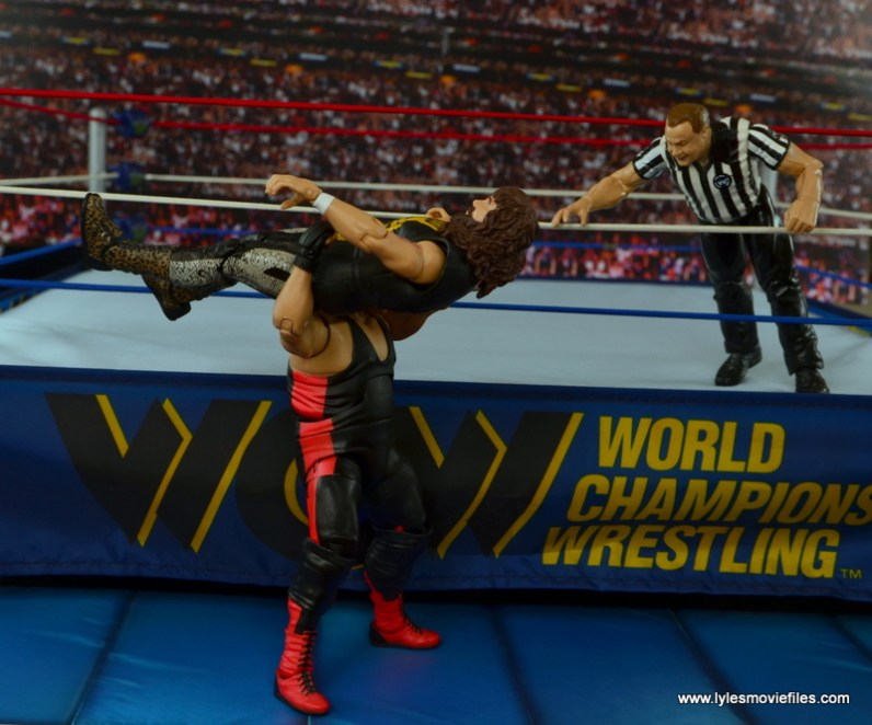 WWE Elite 48 Cactus Jack figure review -Vader powerbomb Catcus on floor