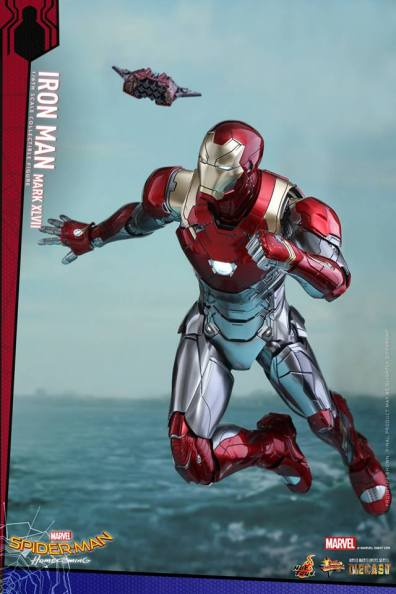 Hot Toys Iron Man Mark 47 figure - flyinhg with drone