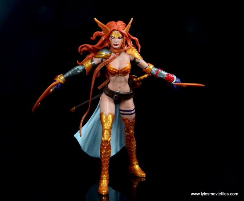 Marvel Legends Angela figure review -advancing for battle