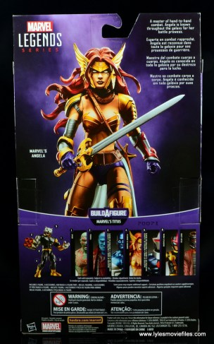 Marvel Legends Angela figure review -package rear