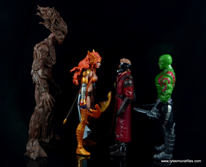 Marvel Legends Angela figure review -scale with Groot, Star Lord and Drax