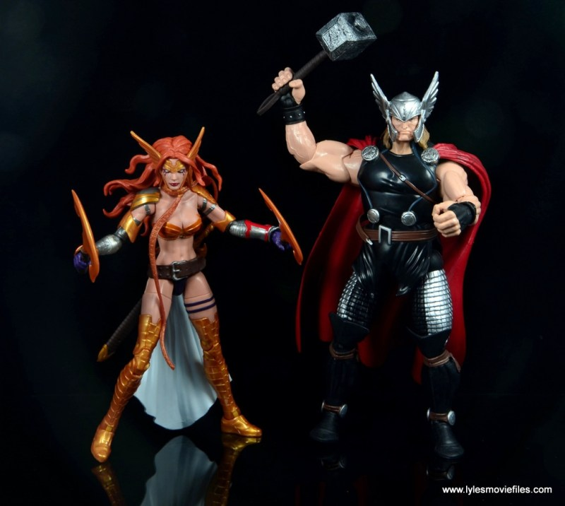 Marvel Legends Angela figure review -scale with Thor