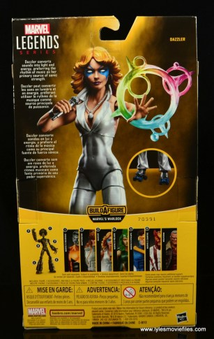 Marvel Legends Dazzler figure review -package rear