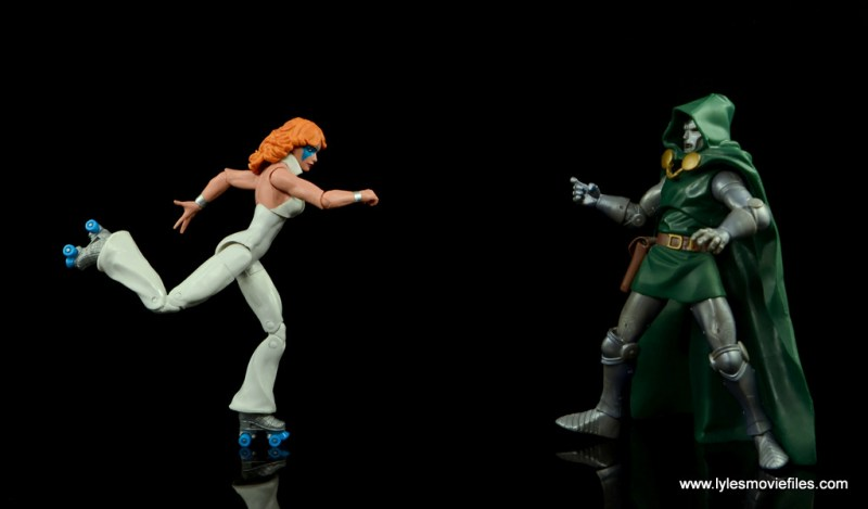 Marvel Legends Dazzler figure review -skaing after Dr. Doom