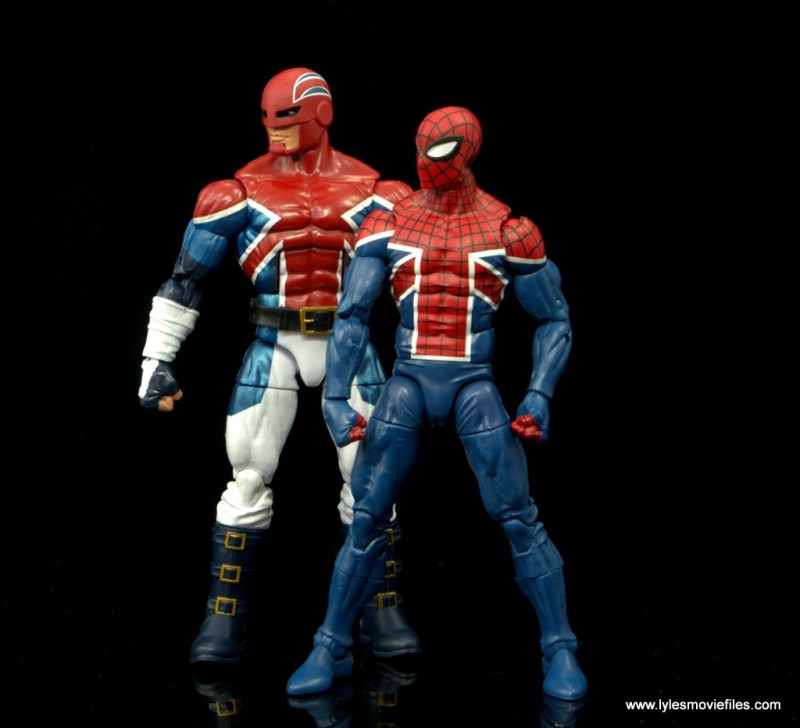 Marvel Legends Spider-Man UK figure review - standing with Captain Britain