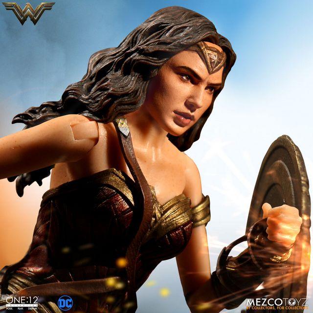 Mezco Toyz One 12 Wonder Woman figure - raising shield