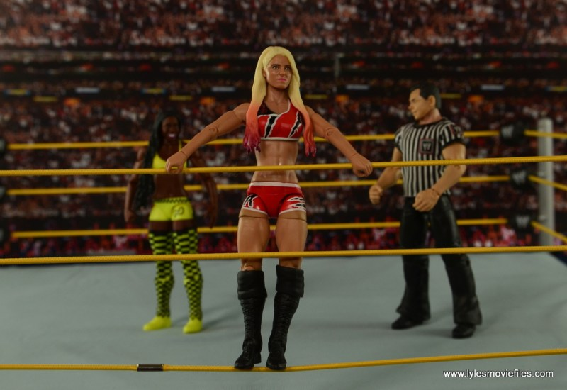WWE Basic Alexa Bliss figure review - standing on the ropes